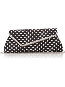 Black Polka Dot Clutch Bag - predominant colour: black; occasions: evening, occasion, holiday; type of pattern: standard; style: clutch; length: hand carry; size: small; material: fabric; pattern: polka dot; finish: plain; embellishment: chain/metal