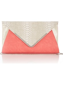 Coral Snake Print Clutch Bag - predominant colour: coral; occasions: evening, occasion; type of pattern: light; style: clutch; length: hand carry; size: small; material: faux leather; pattern: animal print; trends: fluorescent; finish: plain; embellishment: chain/metal