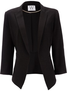 Black Jacket - pattern: plain; style: single breasted blazer; collar: standard lapel/rever collar; predominant colour: black; occasions: evening, work, occasion; length: standard; fit: tailored/fitted; fibres: polyester/polyamide - stretch; waist detail: fitted waist; sleeve length: 3/4 length; sleeve style: standard; collar break: low/open; pattern type: fabric; pattern size: standard; texture group: woven light midweight