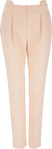Pale Pink Tailored Slim Leg Trouser - pattern: plain; style: peg leg; waist: mid/regular rise; predominant colour: blush; occasions: casual, evening, work; length: ankle length; fibres: polyester/polyamide - stretch; texture group: crepes; fit: tapered; pattern type: fabric; pattern size: standard