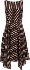 Brown Polka Dot Dress - length: below the knee; neckline: slash/boat neckline; sleeve style: sleeveless; waist detail: fitted waist; pattern: polka dot; predominant colour: chocolate brown; occasions: evening, occasion; fit: fitted at waist &amp; bust; style: asymmetric (hem); fibres: polyester/polyamide - 100%; hip detail: soft pleats at hip/draping at hip/flared at hip; sleeve length: sleeveless; texture group: sheer fabrics/chiffon/organza etc.; pattern type: fabric; pattern size: standard
