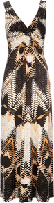 Brown Tribal Print Petite Maxi Dress - neckline: low v-neck; fit: empire; sleeve style: sleeveless; style: maxi dress; waist detail: fitted waist; predominant colour: camel; occasions: casual, holiday; length: floor length; fibres: polyester/polyamide - mix; hip detail: soft pleats at hip/draping at hip/flared at hip; sleeve length: sleeveless; pattern type: fabric; pattern size: big &amp; busy; pattern: patterned/print; texture group: jersey - stretchy/drapey