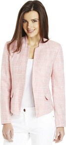 Textured Flap Pocket Cropped Jacket - style: single breasted blazer; collar: standard lapel/rever collar; pattern: herringbone/tweed; predominant colour: blush; occasions: casual, evening, work; length: standard; fit: tailored/fitted; fibres: acrylic - 100%; sleeve length: long sleeve; sleeve style: standard; collar break: low/open; pattern type: fabric; pattern size: standard; texture group: tweed - light/midweight