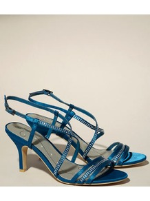 Belle Diamante Strap Sandal - predominant colour: teal; occasions: evening, occasion; material: satin; heel height: mid; embellishment: crystals; heel: stiletto; toe: open toe/peeptoe; style: strappy; finish: plain; pattern: plain