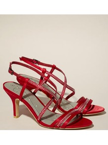 Belle Diamante Strap Sandal - predominant colour: true red; occasions: evening, occasion; material: satin; heel height: mid; embellishment: crystals; heel: kitten; toe: open toe/peeptoe; style: strappy; finish: plain; pattern: plain