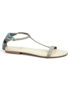 Blue Bead Back Flat Sandal - predominant colour: light grey; occasions: casual, holiday; material: faux leather; heel height: flat; embellishment: beading; ankle detail: ankle strap; heel: standard; toe: open toe/peeptoe; style: standard; finish: plain; pattern: plain