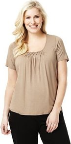 Plus Short Sleeve Honeycomb Top With Stay New - pattern: plain; bust detail: ruching/gathering/draping/layers/pintuck pleats at bust; predominant colour: camel; occasions: casual, work, holiday; length: standard; style: top; neckline: scoop; fibres: viscose/rayon - stretch; fit: loose; sleeve length: short sleeve; sleeve style: standard; pattern type: fabric; pattern size: standard; texture group: jersey - stretchy/drapey
