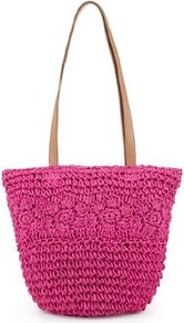 Floral Straw Bag - predominant colour: hot pink; occasions: casual, holiday; type of pattern: light; style: shoulder; length: handle; size: standard; material: macrame/raffia/straw; pattern: plain; finish: plain