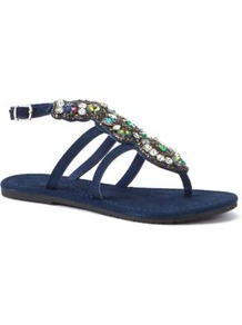 Navy Chunky Stone Embellished Sandals - predominant colour: navy; occasions: casual, evening, holiday; material: satin; heel height: flat; embellishment: jewels; ankle detail: ankle strap; heel: standard; toe: toe thongs; style: flip flops / toe post; finish: plain; pattern: plain