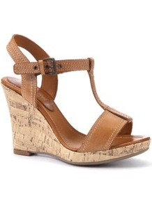 Wide Fit Leather Tan T Bar Cork Wedges - predominant colour: tan; occasions: casual, holiday; material: faux leather; heel height: high; embellishment: buckles; ankle detail: ankle strap; heel: wedge; toe: open toe/peeptoe; style: standard; finish: plain; pattern: plain