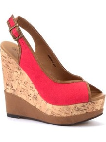 Coral Canvas Sling Back Wedges - predominant colour: coral; occasions: casual, evening, holiday; material: fabric; heel height: high; embellishment: buckles; ankle detail: ankle strap; heel: wedge; toe: open toe/peeptoe; style: slingbacks; finish: plain; pattern: plain