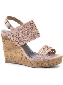 Nude Cut Out Wide Strap Cork Wedges - predominant colour: nude; occasions: casual, holiday; material: faux leather; heel height: high; embellishment: buckles; heel: wedge; toe: open toe/peeptoe; style: standard; finish: plain; pattern: patterned/print
