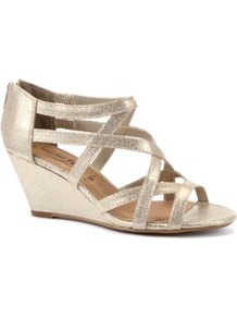 Wide Fit Gold Strappy Wedge Sandals - predominant colour: gold; occasions: evening, occasion, holiday; material: faux leather; heel height: mid; embellishment: zips; ankle detail: ankle strap; heel: wedge; toe: open toe/peeptoe; style: strappy; trends: metallics; finish: metallic; pattern: plain