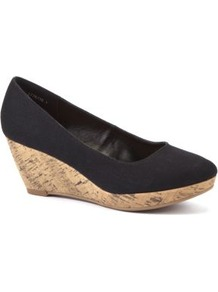 Wide Fit Black Canvas Wedge Shoes - predominant colour: black; occasions: casual, work, holiday; material: fabric; heel height: mid; heel: wedge; toe: round toe; style: courts; finish: plain; pattern: plain