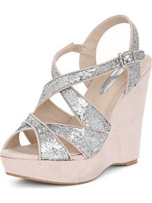 Grey Glitter Wedges - predominant colour: silver; occasions: evening, occasion; material: faux leather; heel height: high; embellishment: glitter; ankle detail: ankle strap; heel: wedge; toe: open toe/peeptoe; style: strappy; finish: metallic; pattern: plain