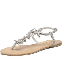 Silver Starfish Sandals - predominant colour: silver; occasions: casual, evening, holiday; material: faux leather; heel height: flat; embellishment: crystals; ankle detail: ankle strap; heel: standard; toe: toe thongs; style: flip flops / toe post; finish: metallic; pattern: plain