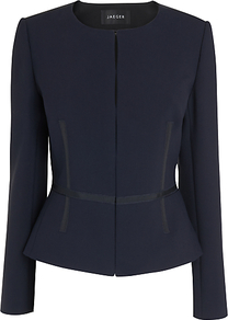 Grosgrain Jacket, Navy - pattern: plain; style: single breasted blazer; collar: round collar/collarless; predominant colour: navy; occasions: evening, work, occasion; length: standard; fit: tailored/fitted; fibres: polyester/polyamide - mix; waist detail: fitted waist; sleeve length: long sleeve; sleeve style: standard; collar break: medium; pattern type: fabric; pattern size: standard; texture group: woven light midweight