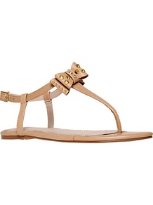 Missouri Leather Studded T Bar Sandals - predominant colour: camel; occasions: casual, holiday; material: leather; heel height: flat; embellishment: studs; ankle detail: ankle strap; heel: standard; toe: toe thongs; style: flip flops / toe post; finish: plain; pattern: plain