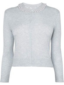 Margot Pearl Collar Cardigan Grey Crystal Melange - neckline: round neck; pattern: plain; bust detail: added detail/embellishment at bust; predominant colour: light grey; occasions: casual, evening, work; length: standard; style: standard; fit: slim fit; sleeve length: long sleeve; sleeve style: standard; texture group: knits/crochet; pattern type: knitted - fine stitch; embellishment: pearls; fibres: viscose/rayon - mix