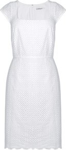 Britani Broderie Anglaise Dress White - style: shift; sleeve style: capped; fit: tailored/fitted; pattern: plain; waist detail: belted waist/tie at waist/drawstring; predominant colour: white; occasions: casual, evening, work, occasion, holiday; length: on the knee; fibres: cotton - 100%; sleeve length: short sleeve; trends: glamorous day shifts; neckline: medium square neck; pattern type: fabric; texture group: broiderie anglais
