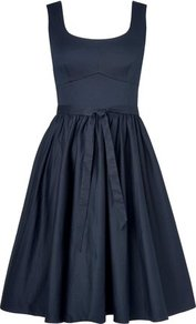 Lila A Line Dress Blue Navy - pattern: plain; sleeve style: sleeveless; waist detail: belted waist/tie at waist/drawstring; predominant colour: navy; occasions: evening, occasion; length: just above the knee; fit: fitted at waist & bust; style: fit & flare; neckline: scoop; fibres: cotton - stretch; hip detail: soft pleats at hip/draping at hip/flared at hip; sleeve length: sleeveless; texture group: cotton feel fabrics; pattern type: fabric