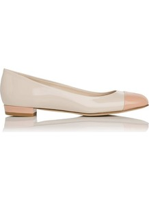 Scott Toe Cap Leather Ballerina Flat Pink Blush - predominant colour: blush; secondary colour: nude; occasions: casual, work; material: leather; heel height: flat; toe: round toe; style: ballerinas / pumps; finish: patent; pattern: plain; embellishment: toe cap