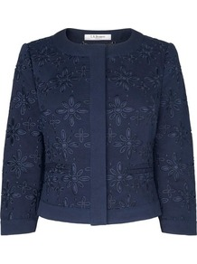 Livia Broderie Anglaise Jacket Blue Navy - collar: round collar/collarless; length: cropped; style: boxy; predominant colour: navy; occasions: casual; fit: straight cut (boxy); fibres: cotton - 100%; sleeve length: 3/4 length; sleeve style: standard; collar break: high/illusion of break when open; texture group: broiderie anglais