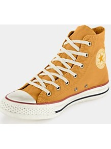 Well Worn Chuck Taylor All Star Washed Hi Tops - predominant colour: mustard; occasions: casual; material: fabric; heel height: flat; embellishment: studs; ankle detail: ankle tie; toe: round toe; style: trainers; finish: plain; pattern: plain