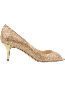 Glitter 65 Isabel Peeptoe - predominant colour: gold; occasions: evening, occasion; material: leather; heel height: mid; embellishment: glitter; heel: stiletto; toe: open toe/peeptoe; style: courts; trends: metallics; finish: metallic; pattern: plain