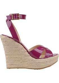 Patent Phoenix Espadrille Wedge Shoe - predominant colour: hot pink; occasions: casual, evening, holiday; material: leather; heel height: high; ankle detail: ankle strap; heel: wedge; toe: open toe/peeptoe; style: standard; finish: patent; pattern: plain
