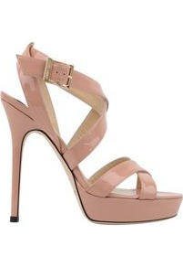 Patent Vamp Sandal - predominant colour: nude; occasions: evening, occasion; material: leather; heel height: high; embellishment: buckles; ankle detail: ankle strap; heel: platform; toe: open toe/peeptoe; style: strappy; finish: patent; pattern: plain