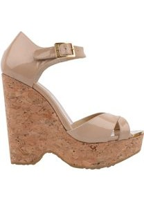 Patent Cork Wedge - predominant colour: stone; occasions: casual, evening, holiday; material: leather; heel height: high; embellishment: buckles; ankle detail: ankle strap; heel: wedge; toe: open toe/peeptoe; style: standard; finish: patent; pattern: plain