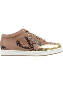 Suede Snake Miami Trainer - predominant colour: camel; occasions: casual; material: suede; heel height: flat; toe: round toe; style: trainers; trends: metallics; finish: plain; pattern: animal print; embellishment: toe cap