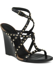 Towney Wedge Sandals - predominant colour: black; occasions: evening, occasion, holiday; material: leather; heel height: high; embellishment: studs; ankle detail: ankle strap; heel: wedge; toe: open toe/peeptoe; style: strappy; finish: plain; pattern: plain