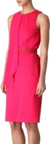 Daphne Dress - fit: tailored/fitted; pattern: plain; sleeve style: sleeveless; bust detail: added detail/embellishment at bust; waist detail: fitted waist; predominant colour: hot pink; occasions: evening, work; length: on the knee; style: asymmetric (hem); fibres: viscose/rayon - stretch; neckline: crew; sleeve length: sleeveless; trends: fluorescent; pattern type: fabric; texture group: other - light to midweight