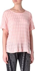 Burn Out T Shirt - neckline: round neck; length: below the bottom; style: t-shirt; predominant colour: blush; occasions: casual, holiday; fibres: polyester/polyamide - mix; fit: loose; sleeve length: short sleeve; sleeve style: standard; pattern type: fabric; pattern size: small & light; pattern: patterned/print; texture group: jersey - stretchy/drapey