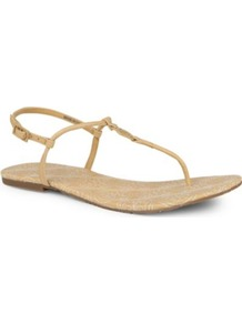 Emmy Stitch Thong Sandals - predominant colour: camel; occasions: casual, holiday; material: leather; heel height: flat; ankle detail: ankle strap; heel: standard; toe: toe thongs; style: flip flops / toe post; finish: plain; pattern: plain; embellishment: chain/metal