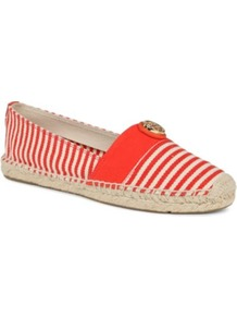 Beacher Stripe Espadrilles - predominant colour: true red; occasions: casual, holiday; material: fabric; heel height: flat; toe: round toe; style: ballerinas / pumps; finish: plain; pattern: striped; embellishment: chain/metal