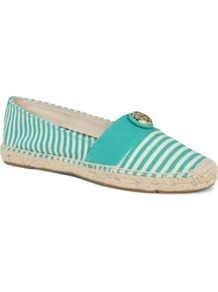 Beacher Stripe Espadrilles - predominant colour: turquoise; occasions: casual, holiday; material: fabric; heel height: flat; toe: round toe; style: ballerinas / pumps; finish: plain; pattern: striped; embellishment: chain/metal