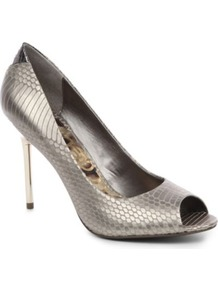 Reagan Peep Toe Shoes - predominant colour: silver; occasions: evening, occasion; material: leather; heel height: high; heel: stiletto; toe: open toe/peeptoe; style: courts; trends: metallics; finish: metallic; pattern: animal print