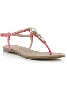 Krissa Jewelled Toe Post Sandal - predominant colour: hot pink; occasions: casual, holiday; material: faux leather; heel height: flat; embellishment: crystals; ankle detail: ankle strap; heel: standard; toe: toe thongs; style: flip flops / toe post; finish: plain; pattern: plain