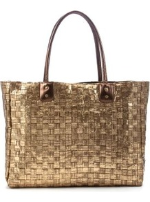 Gold Metallic Straw Shopper Bag - predominant colour: gold; occasions: casual, evening, work, holiday; type of pattern: light; style: tote; length: handle; size: standard; material: macrame/raffia/straw; pattern: plain; trends: metallics; finish: metallic
