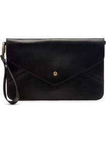 Black Envelope Clutch - predominant colour: black; occasions: evening, occasion; type of pattern: small; style: clutch; length: hand carry; size: small; material: faux leather; pattern: plain; finish: plain
