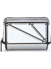 Silver Structured Box Clutch - predominant colour: silver; occasions: evening, occasion; type of pattern: small; style: clutch; length: hand carry; size: small; material: faux leather; pattern: plain; trends: metallics; finish: metallic