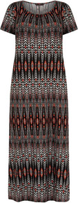 Graphic T Shirt Maxi Dress - neckline: round neck; fit: loose; style: maxi dress; length: ankle length; occasions: casual, holiday; fibres: viscose/rayon - stretch; predominant colour: multicoloured; sleeve length: short sleeve; sleeve style: standard; trends: statement prints; pattern type: fabric; pattern size: small &amp; busy; pattern: patterned/print; texture group: jersey - stretchy/drapey