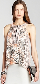 Top Nodin Print Block - sleeve style: sleeveless; neckline: halter neck; bust detail: buttons at bust (in middle at breastbone)/zip detail at bust; predominant colour: ivory; occasions: casual, evening; length: standard; style: top; fibres: polyester/polyamide - 100%; fit: loose; sleeve length: sleeveless; texture group: crepes; pattern type: fabric; pattern size: standard; pattern: patterned/print