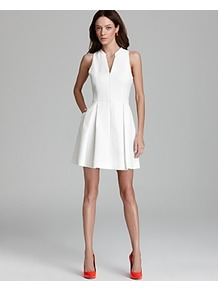 Dress Ashelle Snake Jacquard - neckline: low v-neck; sleeve style: sleeveless; waist detail: structured pleats at waist; predominant colour: white; occasions: evening, occasion; length: just above the knee; fit: fitted at waist & bust; style: fit & flare; fibres: polyester/polyamide - 100%; hip detail: structured pleats at hip; sleeve length: sleeveless; trends: volume; pattern type: fabric; pattern size: small & light; pattern: animal print; texture group: brocade/jacquard