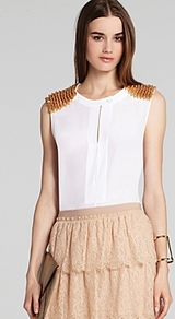 Top Oakley Embellished Shoulder - neckline: round neck; pattern: plain; sleeve style: sleeveless; predominant colour: ivory; occasions: evening, work, occasion; length: standard; style: top; fibres: silk - 100%; fit: straight cut; shoulder detail: added shoulder detail; sleeve length: sleeveless; texture group: sheer fabrics/chiffon/organza etc.; pattern type: fabric; pattern size: standard; embellishment: studs