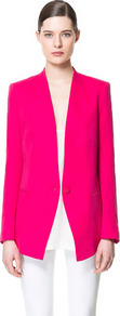 Linen Blazer - pattern: plain; style: single breasted blazer; length: below the bottom; collar: standard lapel/rever collar; predominant colour: hot pink; occasions: casual, evening, work, occasion; fit: tailored/fitted; fibres: linen - mix; waist detail: fitted waist; back detail: back vent/flap at back; sleeve length: long sleeve; sleeve style: standard; texture group: cotton feel fabrics; trends: tuxedo, fluorescent; collar break: low/open; pattern type: fabric; pattern size: standard