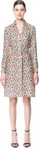 Printed Shirt Style Dress - style: shirt; neckline: shirt collar/peter pan/zip with opening; bust detail: added detail/embellishment at bust; waist detail: belted waist/tie at waist/drawstring; occasions: casual, evening, work, occasion; length: just above the knee; fit: body skimming; fibres: silk - 100%; predominant colour: multicoloured; sleeve length: long sleeve; sleeve style: standard; texture group: sheer fabrics/chiffon/organza etc.; trends: modern geometrics; pattern type: fabric; pattern size: big & busy; pattern: patterned/print